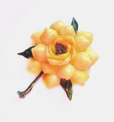 Yellow Shell Flower Brooch, Handmade Folk Art  Pin