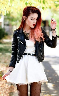 Lua of Le Happy in the Moto Zip Crop Jacket , whit sundress, patterned tights. And docs, of course. dip dye hair, fashion, luanna perez, red hair, style, outfit, red velvet, leather jackets, skater dresses