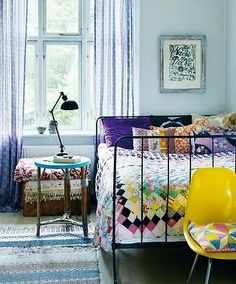 interior design, bed frames, quilt, color, mixed prints, boho, guest rooms, iron, bedroom