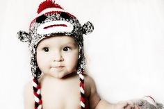 Ready to ship  Crochet baby sock monkey hat  made by KnitnutbyJL, $12.00