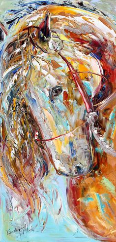 Original Oil palette knife painting Wild Horse Portrait by Karensfineart ~ what a cool rendering of this horse; love the looseness and colors
