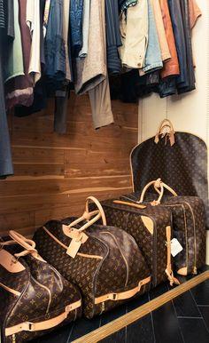 LV travelers bags.