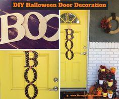quick, easy, #DIY #Halloween door decoration using Mod Podge, paint, ribbon and scrapbook paper! #ModPodgeRocks