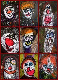 """clowns, by Kindergarten artists. (Artsy_T's """"in my classroom 08-19"""")"""