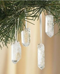 Crystal Quartz Ornaments. I will make these this year for our tree.