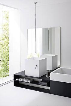 | BATHROOM | Modern bathroom via Rexa Design. Love the ceiling mounted faucet and square ceramic basin.