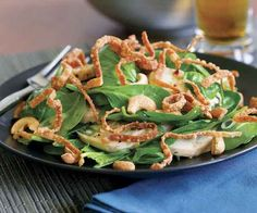 Spinach Salad with Chicken, Cashews, Ginger & Fried Wontons Recipe