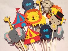 Set Of 12 Circus Themed Cupcake Toppers great for by MiaSophias, $11.99