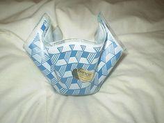 1960's blue op art retro Chance glass Handkerchief Vase with original label 5'in