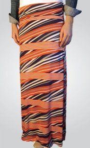 Navy and Orange Maxi Skirt