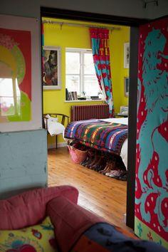 Caro & Josh's Colorful & Quirky English Home #pendleton