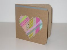 Washi Tape Heart Card by OneCraftinMama on Etsy