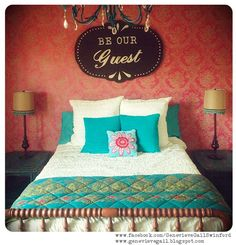 """Hand Painted Wood Guest Room Sign.  """"Be Our Guest,"""" by Genevieve Gail Swinford. Perfect for above guest bed!"""