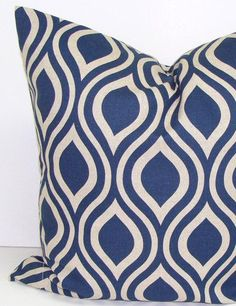 BLUE PILLOWS.24x24 inch Decorator Pillow Cover.Printed Fabric Front and Back