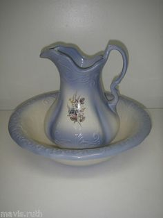 Ironstone 1890 England backstamp Victorian Wash Basin Set Water Pitcher & Bowl Blue Floral