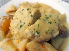 Creamy Ranch Pork Chops and Potatoes ... Delicious and Super easy ... I put it in the oven at 425 for about 1 hour and it only has like 2 minutes prep time ... GREAT and much tastier than in the crockpot