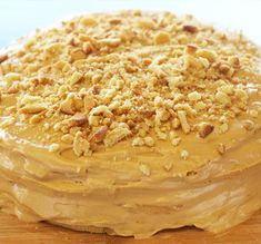 An easy and decadent cake with caramel frosting.. Caramel Banana Cream Cake Recipe from Grandmothers Kitchen.