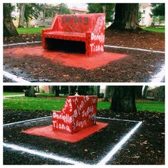 The smell of fresh paint lingers by the spirit bench where the ladies of Delta Chi Delta have recently painted their names.