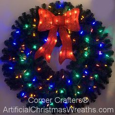 3 Foot Color Changing L.E.D. Prelit Christmas Wreath | 3 SETTINGS:    ▰ ALL MULTI-COLOR (Steady On)    ▰ ALL WARM WHITE (Steady On)    ▰ CONTINUOUS 10 SECOND TRANSITION | LARGE LIGHTED BOW #ArtificialChristmasWreaths #ChristmasWreaths #Wreaths #PrelitWreaths #multicolorprelitwreaths