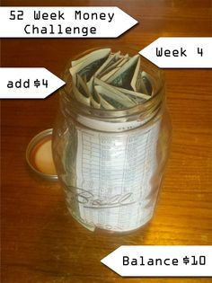 The 52 Week Money Challenge – Week 4 - Printout