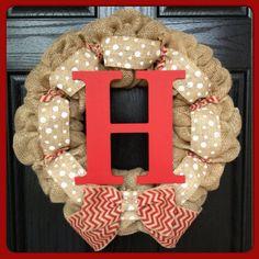 Monogram Fall Wreath- Chevron Burlap Wreath with Initial- Front Door Wreath- Wedding Decoration- Wedding Gift- Monogram Wreath on Etsy, $66.50