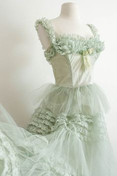 1950s Ruffle Prom / Vintage Garden Tea Party Garden Tea Party Dress /  - Spruce Stone Green / Ruffles / Tulle / French Net