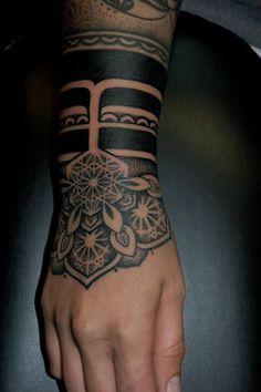 Nice Tattoo tattoo idea, hand tattoos, arm tattoos, cuff, tribal tattoos, sleev, wrist tattoos, tattoo patterns, tattoo ink