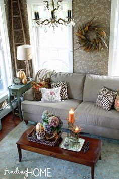Great wallpaper.  Love many elements of this room, including the fall decor.