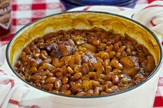 These baked beans have everything you'd want in a classic casserole; thick, salty slices of bacon, sweet molasses and brown sugar, and a little bit of heat from Tabasco sauce. These beans take up to four hours in the oven, so be sure to plan ahead.