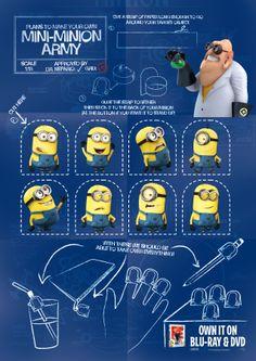 Ejército de Minions. Tutorial con imprimibles. minions, birthday, printables, tag, fingers, nurseri, despic, minion parti, finger puppets