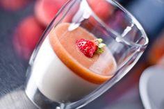 Honey Yogurt Panna Cotta with White Peach Puree by [ No Recipes ]