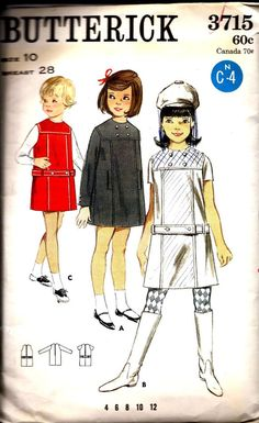Cute MOD Girls Dress or Jumper with Dropped by DawnsDesignBoutique