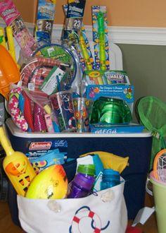 summer gift basket. Sunscreen, bug spray, sunglasses, flip-flops. Bubbles, water guns, jump rope, nerf ball, sidewalk chalk, glow sticks.