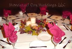 autumn leave centerpiece with candles