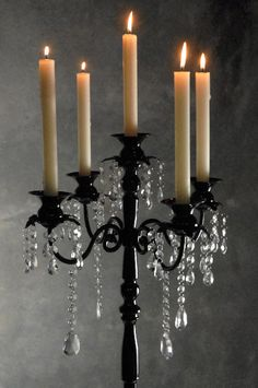 """Black Taper Candelabra with  Crystals  32""""  Candle Holder $55 each / 2 for $50 each - Love this web site, great stuff."""