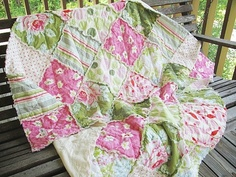 love the pinks and greens in this rag quilt by Southern Charm Quilts