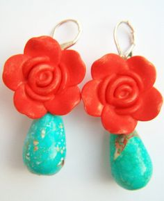 Red Turquoise Frida Kahlo Earrings Carmen Clay by polishedtwo, $12.00