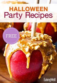 Healthy Caramel Apples, Chocolate Pretzel & Cherry Popcorn Balls, Homemade Roasted Pumpkin Seeds and more!