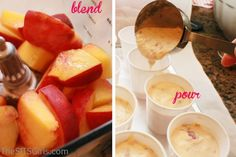 I need to make these with my grandangels :)  Peach Popcycles and more  Ingredients: 2-3 peaches, cut into chunks (you can peel them of you wish) ¾ cup of Greek yogurt (regular yogurt works just as well) ¾ cup of whipping cream 1-2 tablespoons of sugar ½ teaspoon of vanilla