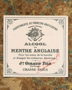 Antique Vintage French Apothecary Perfume Label 9