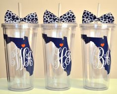 Monogrammed State tumbler. 16 ounce cups. on Etsy, $12.00 state tumbler, vinyl monogram gifts, monogramed things, aviators, tumbler gift, monogram cups, monogrammed tumblers, monogram tumbler, ounc cup