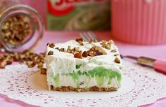 Pistachio Pudding Layer Dessert.  When I  grew up this was at every pot-luck and family gathering.  Then people started to make it chocolate....not as good...this was meant for pistachio.