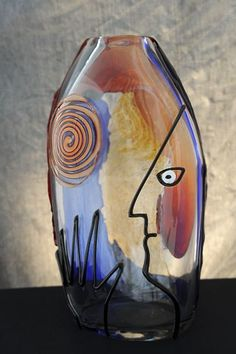 """Freestyle"" blown glass vase. glasses, artworks, murano glass, art glass, glass vase, glass artwork, blown glass, artglass"