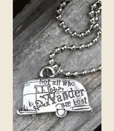 """NOT ALL WHO WANDER PENDANT - custom Junk GYpSy design . . . """"HEre's to the journey!"""" on the back!"""