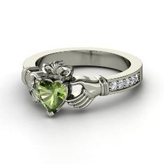 Claddagh Ring, Heart Green Tourmaline Sterling Silver Ring with Diamond from Gemvara