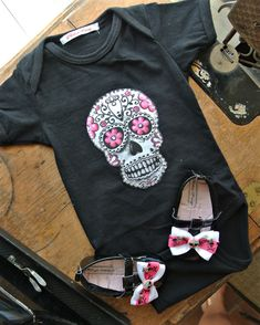 Olivia Paige - Rockabilly baby punk rock sugar skull skeleton outfit bodysuit with shoes studded on Etsy, $30.00