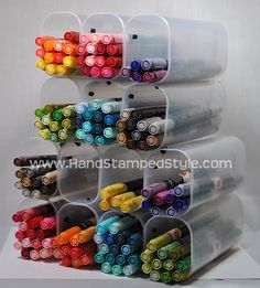 HSS Class Pages 2: Recycled Marker Storage Tutorial Empty Crystal Light containers.