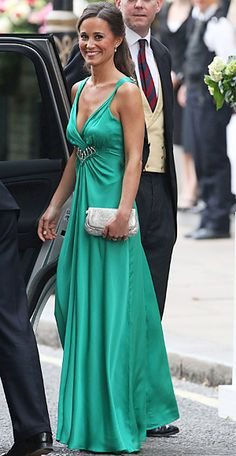 This emerald green looks great on her tan skin. Another dress I that makes me wish I had somewhere to wear it to!