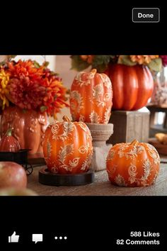 Decorated pumpkins...good idea for fall wedding decor thing autumn, plums, pumpkins, white, fall weddings, holiday decor, blues