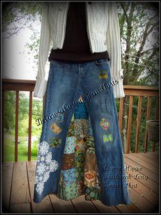 #Classic Hippie patchwork Long Jean Skirt by CustomJeanSkirts,  jean skirt #2dayslook #jean style #jeanfashionskirt  www.2dayslook.com